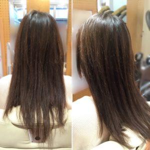 表面が短く、ボサッと広がる髪の毛になっています。