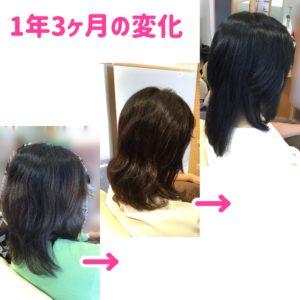 変化する髪。